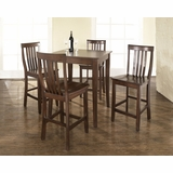 5-Piece Pub Dining Set with Cabriole Leg and School House Stools in Vintage Mahogany Finish - Crosley Furniture - KD520003MA