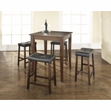 5-Piece Pub Dining Set with Cabriole Leg and Upholstered Saddle Stools in Vintage Mahogany Finish - Crosley Furniture - KD520004MA