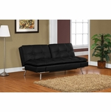 Double Cushion Convertible Sofa in Black - Matrix - BA-MDM-FA-BK