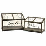 Tavaris Metal Greenhouse (Set of 2) - IMAX - 27535-2