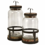 Sloan Lidded Canisters (Set of 2) - IMAX - 56355-2