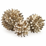 Sikad Shell Deco Balls in Net (Set of 4) - IMAX - 53625