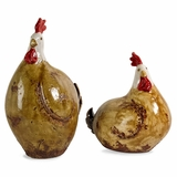 Brown and White Chickens (Set of 2) - IMAX - 48022-2