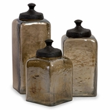 Square Brown Luster Canisters (Set of 3) - IMAX - 6975-3