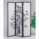3-Panel Black Wood Screen (Bambo) - Yuta - 02287