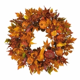 28 Harvest Wreath in Fall - Nearly Natural - 4648