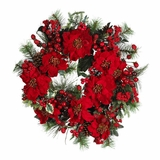 24 Poinsettia Wreath in Holiday - Nearly Natural - 4660