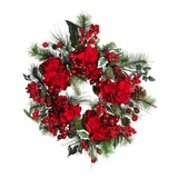 22 Hydrangea Holiday Wreath in Holiday - Nearly Natural - 4661