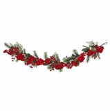 72 Hydrangea Garland in Red / Green - Nearly Natural - 4663