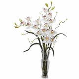 Cymbidium Silk Flower Arrangement - Nearly Natural - 1183-WH