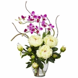 Peony and Orchid Silk Flower Arrangement - Nearly Natural - 1175-WH