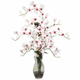 Dendrobium with Vase Silk Flower Arrangement - Nearly Natural - 1190-WH