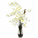 Dendrobium with Vase Silk Flower Arrangement - Nearly Natural - 1190-CR