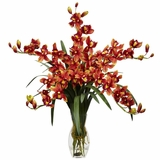 Cymbidium Orchid Silk Flower Arrangement - Nearly Natural - 1184-BG