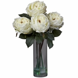 Fancy Rose with Cylinder Vase Silk Flower Arrangement - Nearly Natural - 1247-WH