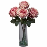 Fancy Rose with Cylinder Vase Silk Flower Arrangement - Nearly Natural - 1247-PK