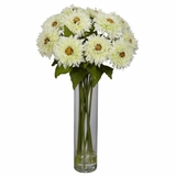 Sunflower with Cylinder Silk Flower Arrangement - Nearly Natural - 1246-WH