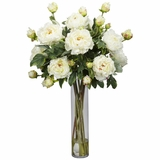 Peony with Cylinder Silk Flower Arrangement - Nearly Natural - 1230-WH