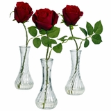 Rose with Bud Vase (Set of 3) - Nearly Natural - 1269-S3