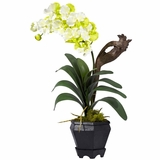 Vanda with Black Hexagon Vase Silk Arrangement - Nearly Natural - 1252-WH