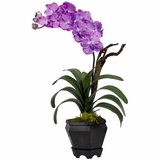Vanda with Black Hexagon Vase Silk Arrangement - Nearly Natural - 1252-PP