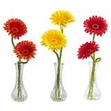 Gerber Daisy with Bud Vase (Set of 3) - Nearly Natural - 1248-A1