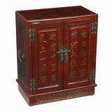 19 Antique Style End Table / Cabinet in Red Leather - frc5005