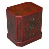24 Antique Style 3-Drawer End Table / Nightstand - Oriental Poem - frc5003