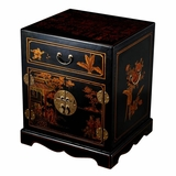 24 Antique Style Mandarin Nightstand / End Table in Black Leather - frc5000