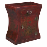24 Antique Style Hourglass End Table in Red Leather - frc5028