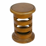 19 Carved Acacia Wood Contemporary Circular End Table in Pine - frt1096