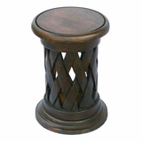 19 Carved Acacia Wood Round End Table Lattice Design in Walnut - frt1093