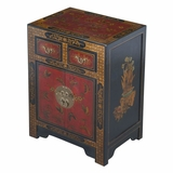 27 Antique Style End Table with Nature Motifs in Black Leather - frc5072