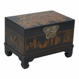 26 Antique Style End Table / Storage Trunk in Black Leather - frc5043