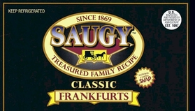 Saugy Frankfurts Natural Casing Gluten Free 5 LBS.