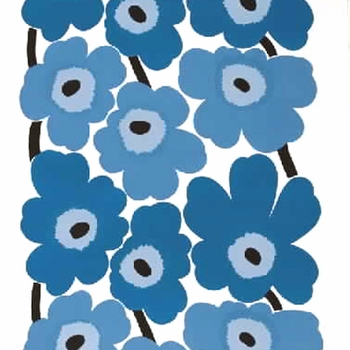 Marimekko Unikko Blue PVC Fabric - Click to enlarge