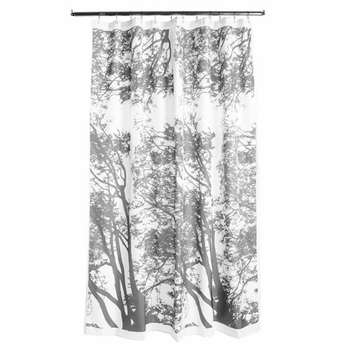 Marimekko Tuuli Grey Long Polyester Shower Curtain - Click to enlarge