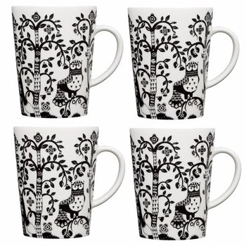 iittala Taika White / Black Mug - Set of 4  - Click to enlarge