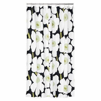 Marimekko Unikko Black Cotton Shower Curtain - Click to enlarge