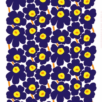 Marimekko Pieni Unikko Indigo Fabric - Click to enlarge