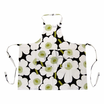 Marimekko Unikko Apron - Black / Green - Click to enlarge