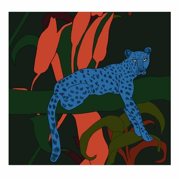 Marimekko Blue Cheetah Fabric Repeat - Click to enlarge