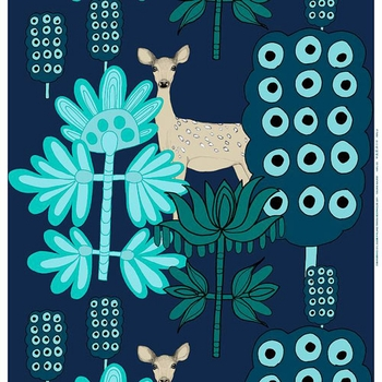 Marimekko Kaunis Kauris Dark Blue/Turquoise Fabric Repeat  - Click to enlarge