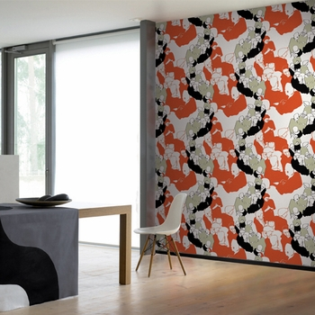 Marimekko Yst�v�t Orange Wallpaper - Click to enlarge