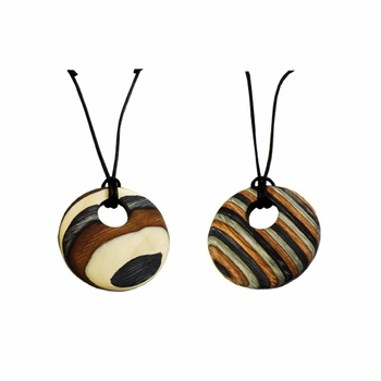 Visapaja Stripe Wooden Necklace - Click to enlarge