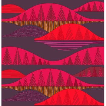 Marimekko Kultakero Red/Plum Fabric  - Click to enlarge