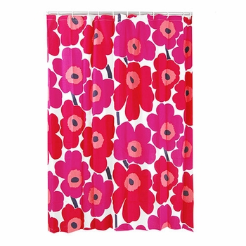 Marimekko Unikko Red Cotton Shower Curtain - Click to enlarge