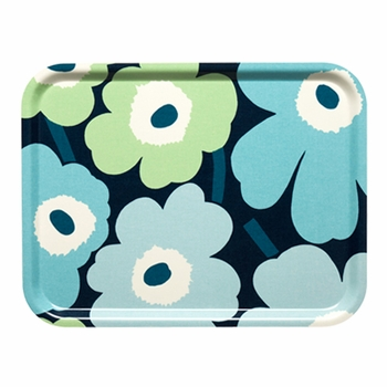 Marimekko Unikko Periwinkle/Mint Large Tray - Click to enlarge