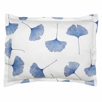 Marimekko Ginkgo White / Blue Pillow Sham - Click to enlarge