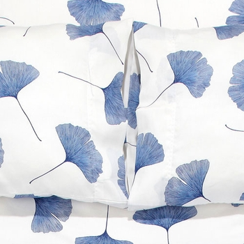 Marimekko White / Blue Ginkgo Full Sheet Set - Click to enlarge